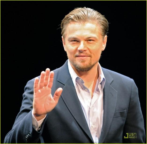 US actor Leonardo DiCaprio greets journa