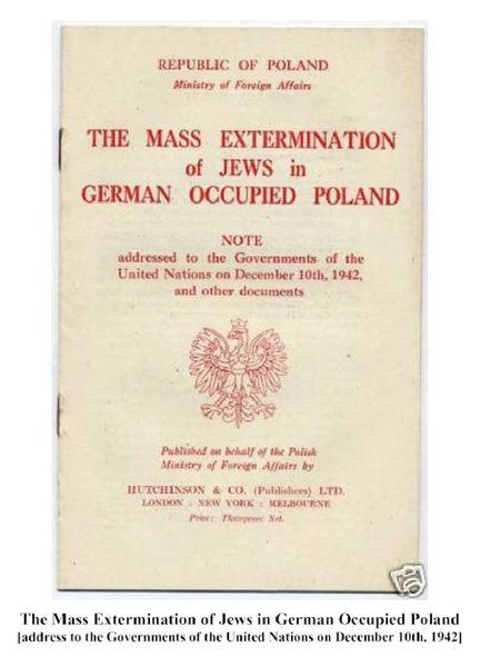 """""""Pemusnahan Massal Yahudi di Polandia yang Diduduki Jerman"""", laporan Republik Polandia kepada PBB, 1942."""