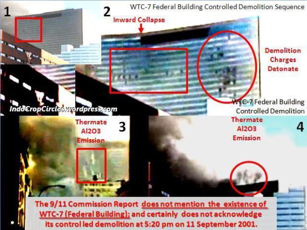 Bukti foto ini memperlihatkan robohnya gedung WTC-7 (Building-7) akibat demolition atau perobohan gedung serta tampak reaksi termite pada gedung WTC-7 ini.