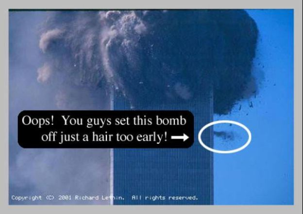 """Tampak ledakan """"controlled demolition"""" terlalu cepat diaktifkan dan terlihat isi lantai menyembur keluar jendela akibat peledakan (explosive) yang telah ditanamkan terlebih dahulu."""